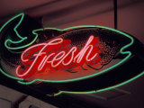 Fresh Fish Sign at Pike Place Market  Seattle  Washington  USA