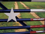 Texas Flag Painted on Metal Gate  Lake Buchanan  Texas  USA