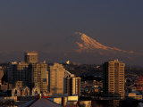 Mt Rainier and Downtown Seattle  Washington  USA