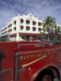 Fire Truck on Ocean Drive  South Beach  Miami  Florida  USA