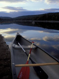 Canoe on a River Shore  Northern Forest  Maine  USA