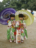 Girls Dressed in Kimono  Shichi-Go-San Festival (Festival for Three  Five  Seven Year Old Children)