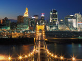 View From John A Roebling Bridge Between Cincinnati  Ohio and Covington  Kentucky  USA