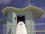 Surfboard at Lifeguard Station  South Beach  Miami  Florida  USA