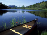 Canoe Resting on the Shore of Little Long Pond  Acadia National Park  Maine  USA