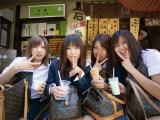 School Girls with Louis Vuitton Bags  Tokyo  Honshu  Japan