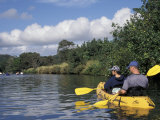 Couple Kayaking the Hule'ia River  Kauai  Hawaii  USA