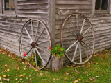 Old Wooden Barn with Wagon Wheels in Rural New England  Maine  USA