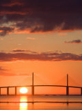 Sunrise Behind Sunshine Skyway Bridge  Florida  USA