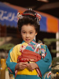 Girl Dressed in Kimono  Shichi-Go-San Festival (Festival for Three  Five  Seven Year Old Children)