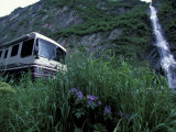 RV and Bridal Veil Falls in Keystone Canyon  Valdez  Alaska  USA