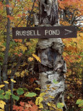 Recreation Trail Signs to Russell Pond  Baxter State Park  Maine  USA
