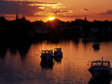 Sunset on Boats in Portsmouth Harbor  New Hampshire  USA