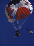 Skydiver with Red  White and Blue Parachute