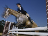 Low Angle View of a Woman Riding a Horse Over a Hurdle