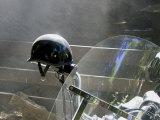 Helmet on Motorcycle Handlebar