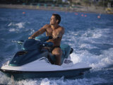 Young Adult Man Jet Skiing