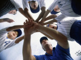 Low Angle View of Children of a Baseball Team in a Huddle