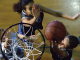 High Angle View of Teenage Girls Playing Basketball