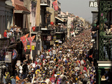 Revelers Pack the French Quarter&#39;s Famous Bourbon Street During the Annual Mardi Gras Celebration
