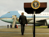 President Bush Walks Back to Air Force One after Speaking to Reporters at Toledo Express Airport