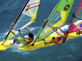 High Angle View of Men Windsurfing