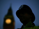 A British Police Officer Stands Guard Outside the Houses of Parliament