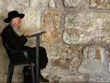 An Elderly Ultra-Orthodox Jew Prays at the Western Wall Plaza