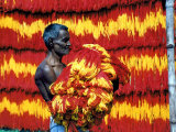 Indian Muslim Artisan Carries Freshly Dyed Kalawa