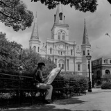 An Artist Sketches St. Louis Cathedral Papier Photo