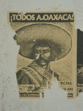 Weathered Street Poster Depicting Pancho Villa  Oaxaca  Mexico