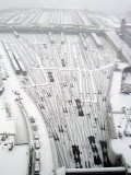 Snow Covers the Railroad Tracks at the Westside Railyard as Snow Falls on New York