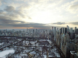 The Sun Rises Over Snow-Covered Central Park and Midtown Manhattan