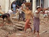 Burmese Women Hauling Rocks and Bricks Labor on a Construction Site