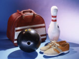Bowling Ball with a Bowling Pin and Bowling Shoes