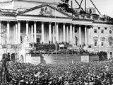 US President Abraham Lincoln Stands Under Cover at Center of Capitol Steps