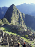 Visitors at the Ancient Ruins of Machu Picchu  Andes Mountains  Peru