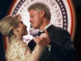 President Clinton Dances with His Wife Hillary at the Veterans Ball Monday