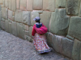 Indian Woman on Cobblestone Street Lined with Inca Stone Walls  Cuzco  Peru