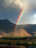 A Rainbow Reaches for the Banks of Kashmir's Dal Lake