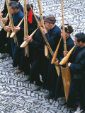 Miao Men Playing Traditional Bamboo Musical Instrument  China