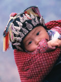 Miao Baby Wearing Traditional Hat  China