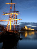 Sydney Opera House and Tall Ship at Dawn  Sydney  Australia