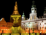 Samson fountain and Town Hall  Ceske Budejovice  Czech Republic
