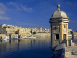 View of Harbor and Fortress Turret  Valletta  Malta