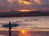 Surfer at Sunset  Gold Coast  Queensland  Australia