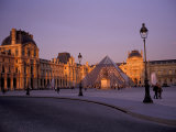Le Louvre Museum and Glass Pyramids  Paris  France
