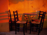 Sunset Light on Cafe Tables  Athens  Greece