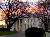 The Early Morning Sunrise Warms up the Winter Sky Behind the White House