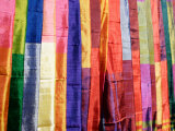 Colorful Silk Scarves at Edfu Market  Egypt